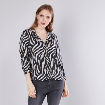 Animal Printed Shirt with 3/4 Sleeves and Button Detail