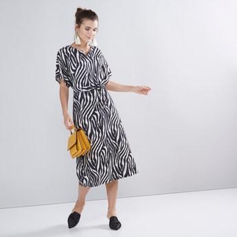 Animal Print Midi A-line Dress with Caftan Sleeves