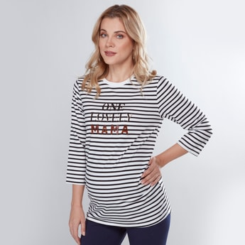Maternity Striped T-shirt with 3/4 Sleeves and Embellishments