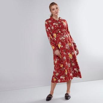 فستان للحوامل متوسط الطول بأكمام طويلة وأربطة وطبعات