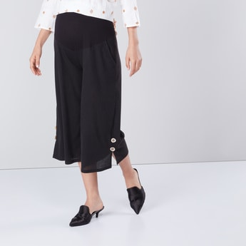 High-Rise Culottes with Button Detail and Elasticised Waistband