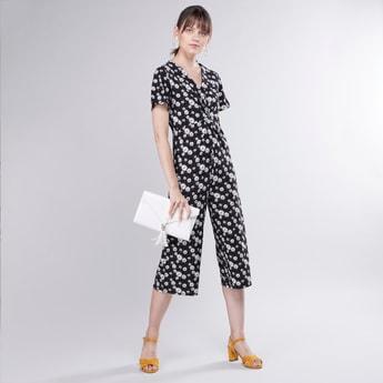 Floral Printed V-neck Jumpsuit with Short Sleeves