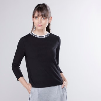 Slogan Printed High Neck Top with 3/4 Sleeves