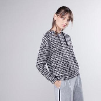 Text Printed Hooded Sweatshirt with Long Sleeves