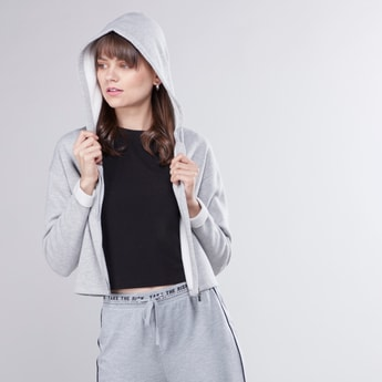 Plain Crop Jacket with Long Sleeves and Hood