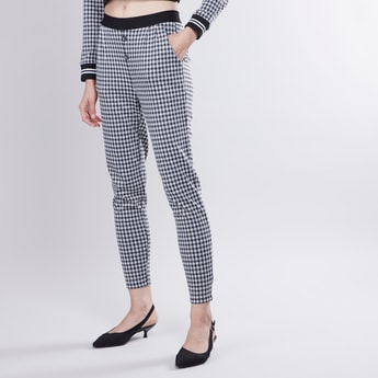 Chequered Pants with Elasticised Waistband and Button Detail