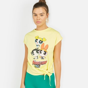 The Powerpuff Girls Print T-shirt with Round Neck and Extended Sleeves