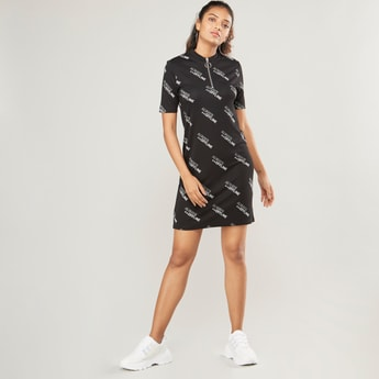 Mini Shift Dress with Text Print and Short Sleeves