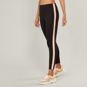 Ankle Length Mid-Rise Leggings with Contrast Taping