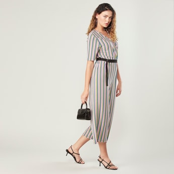 Striped Midi Jumpsuit with Short Sleeves and D-Ring Belt