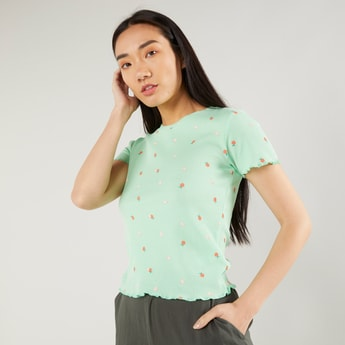 Printed Round Neck T-shirt with Short Sleeves and Lettuce Hem
