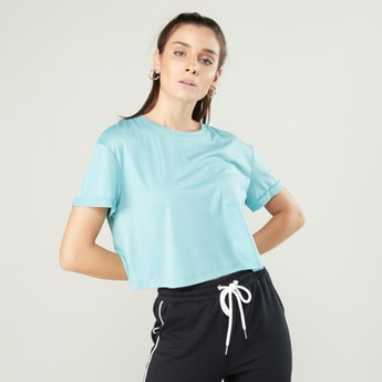 Plain Crop Top with Short Sleeves and Chest Pocket