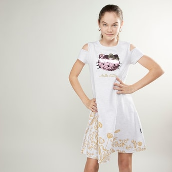 Hello Kitty Cold Shoulder Sequin Detail Dress with Short Sleeves