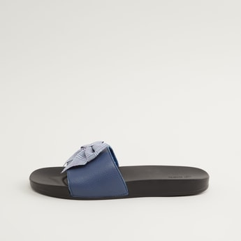 Textured Slip-On Slides with Bow Applique Detail