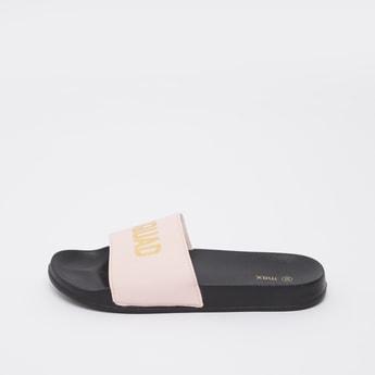 Foil Print Slide Slippers