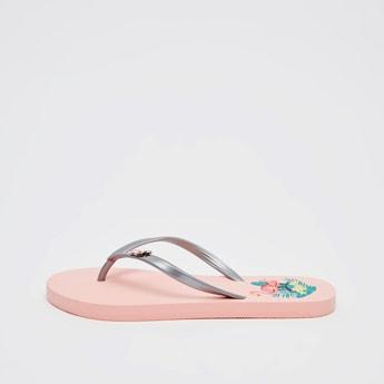Printed Flip Flops with Applique Detail Straps