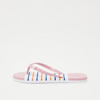 Striped Flip Flops with Applique Detail Straps