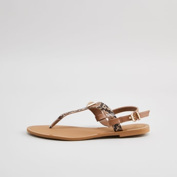 Animal Printed Sandals with Pin Buckle Closure