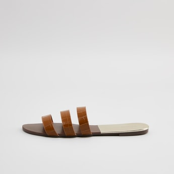 Textured Strappy Sandals with Flat Sole