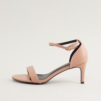 Plain Heel Sandals with Ankle Strap and Pin Buckle Closure