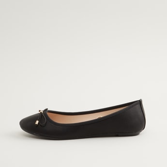 Textured Slip On Ballerina Shoes with Bow Applique