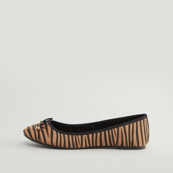 حذاء باليرينا بارز الملمس بفيونكة