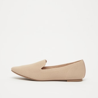 Textured Slip-On Ballerinas with Stacked Heels