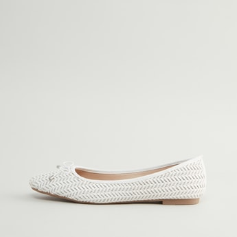 Textured Slip-On Shoes with Bow Detail and Stacked Heels
