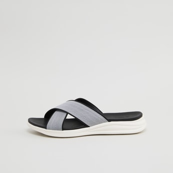 Textured Cross Strap Slip-On Sandals