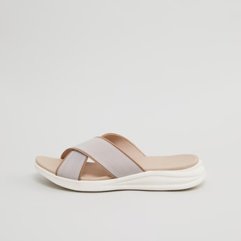 Textured Slip-On Sandals with Cross Straps