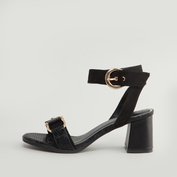 Textured Strap Sandals with Block Heels and Pin Buckle Closure