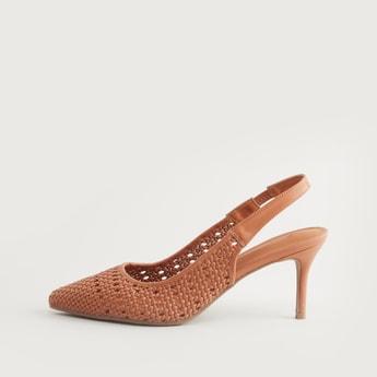 Mesh Detail Slingback Heels