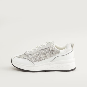 Glitter Accent Shoes with Lace-Up Closure
