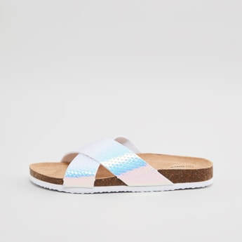 Textured Slides with Cross Straps