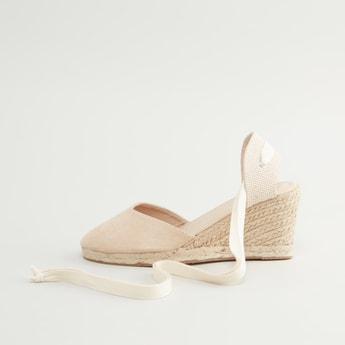 Tie Up Espadrilles Sandals with Textured Wedge Heels