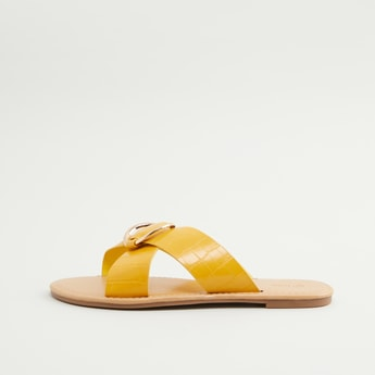 Textured Cross Strap Slides with Applique Detail