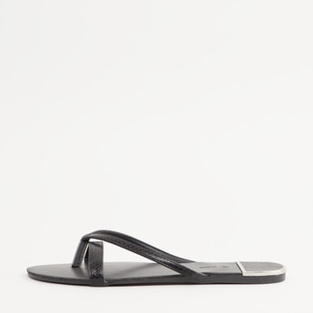 Textured Slip-On Sandals with Crisscross Straps