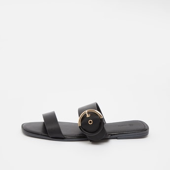 Slip-On Sandals with Pin Buckle