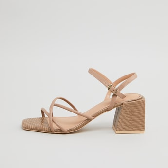 Strap Detail Sandals with Block Heels and Pin Buckle Closure