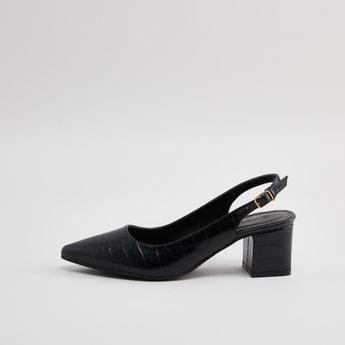 Textured Heels with Buckle Closure