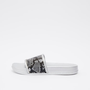 Textured Slides with Printed Vamp Band