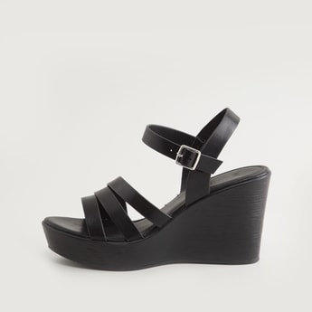 Strap Detail Sandals with Wedge Heels and Pin Buckle Closure