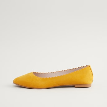 Scalloped Slip-On Ballerina Shoes