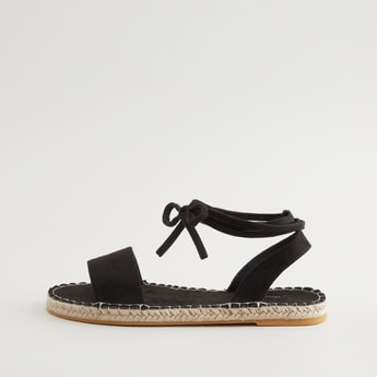 Textured Sandals with Tie Ups