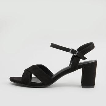 Cross Strap Block Heel Sandals with Buckle Closure