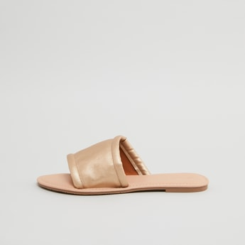 Flat Slides with Broad Strap