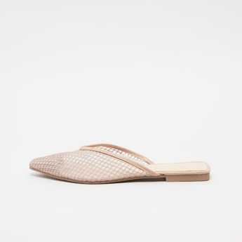 Textured Slip-On Mules with Stacked Heels