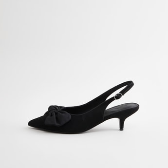 Sling Back Pointed Mules with Bow Applique Detail and Kitten Heels
