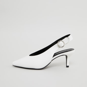 Pointed Toe Sling Back Pump with Buckle Closure