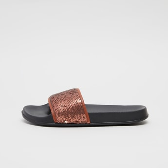 Textured Slip-On Slides with Sequin Detail